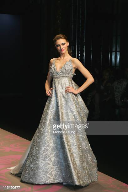 Model wearing George Hobeika during Paris Fashion Week Haute Couture Spring/Summer 2007 George Hobeika Runway at Grand Hotel in Paris France