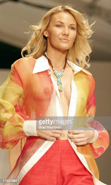 Model wearing Heather Jones during Miami Fashion Week of the Americas 2005 Heather Jones Runway at South Beach in Miami Flordia United States