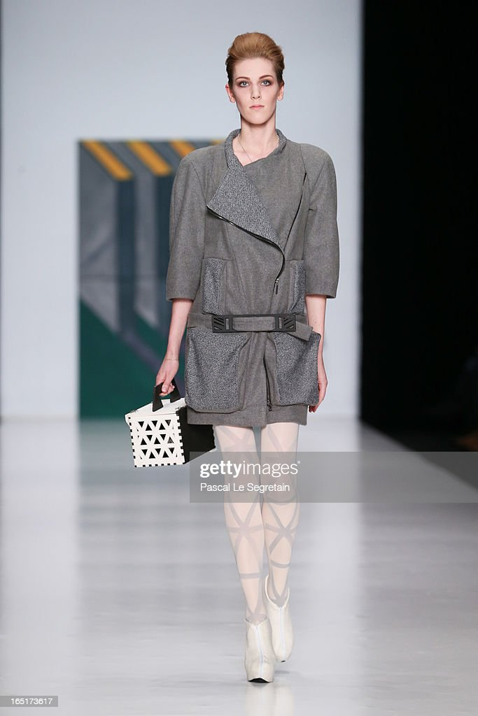 A model wearing Historia Naturalis walks the runway at Belarus Fashion Week Collective Show during Mercedes-Benz Fashion Week Russia Fall/Winter 2013/2014 at Manege on April 1, 2013 in Moscow, Russia.