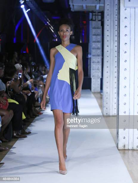 A model wearing Josh and Nicol during at Harlem's Fashion Row 7th Annual Fashion Show And Style Awards at The Waterfront on September 6 2014 in New...