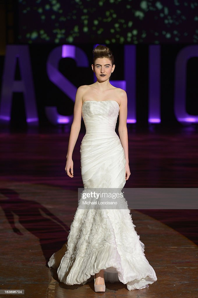 A model wearing Kosibah walks the runway during the 3rd Annual United Colors Of Fashion Gala at Lexington Avenue Armory on October 9, 2013 in New York City.