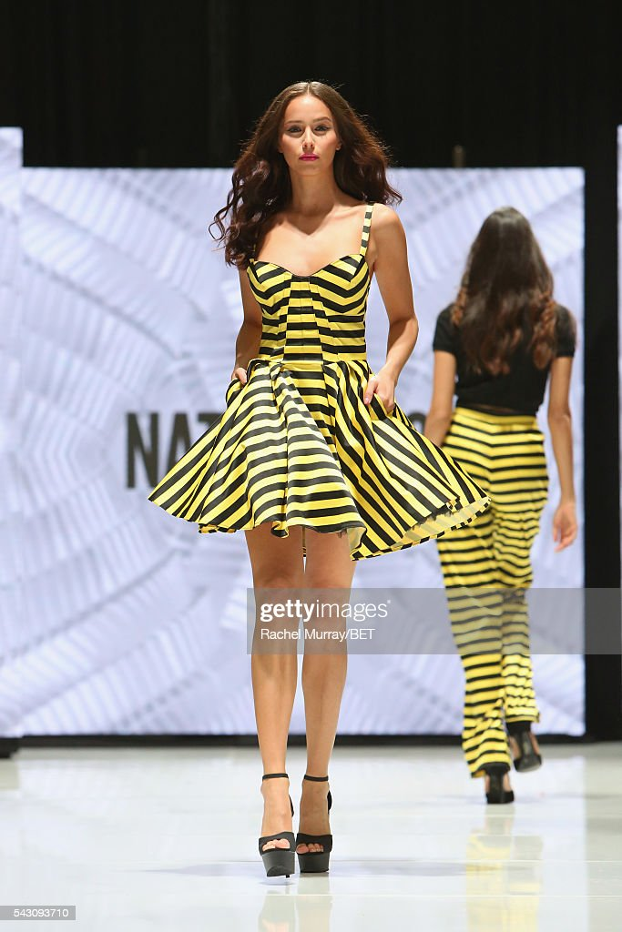 A model wearing Natt Taylor walks the runway at the Fashion & Beauty @ BETX sponsored by Progressive fashion show during the 2016 BET Experience on June 25, 2016 in Los Angeles, California.