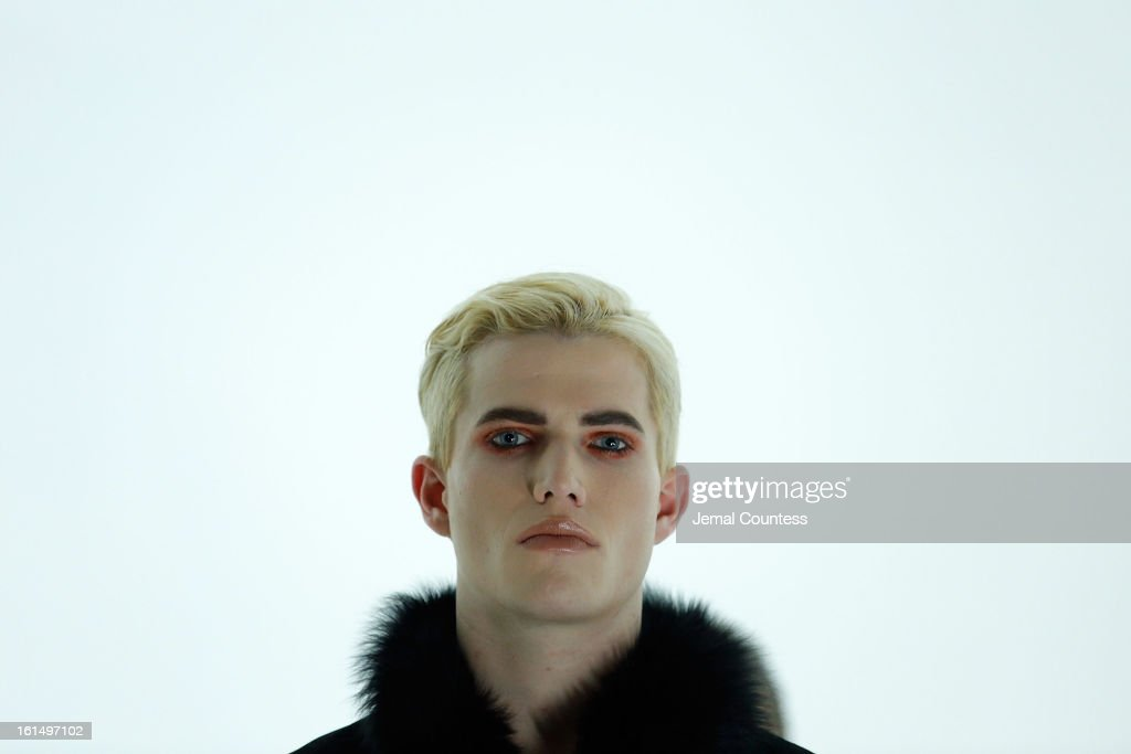A model wearing Odd fall 2013 on the runway at the Odd fall 2013 presentation during Mercedes-Benz Fashion Week at Industria Superstudio on February 11, 2013 in New York City.