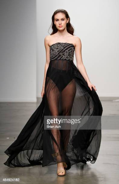 A model wearing Philippa Galasso walks the runway during the Fashion Palette Australia runway show during New York Fashion Week Spring 2015 at Pier...