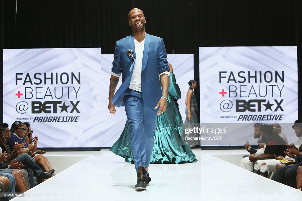 A model Wearing Reco Chapple walks the runway at the Fashion & Beauty @ BETX sponsored by Progressive fashion show during the 2016 BET Experience on June 25, 2016 in Los Angeles, California.