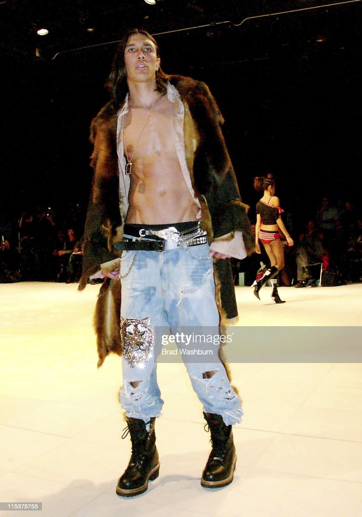 Model Wearing Roy Jones during Olympus Fashion Week Fall 2005 Syd And Roy Private Showing at Parsons School of Design in New York City New York...