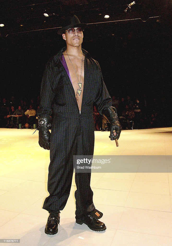 Model Wearing Roy Jones Necklace by Chris Aire during Olympus Fashion Week Fall 2005 Syd And Roy Private Showing at Parsons School of Design in New...