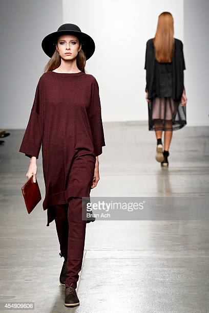 A model wearing Salasai walks the runway during the Fashion Palette Australia show at New York Fashion Week Spring 2015 at Pier 59 on September 7...