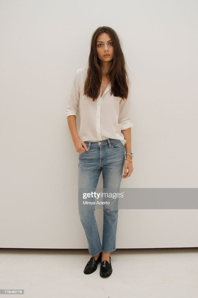 Model wearing Spring 2014 collection Frame Denim presentation during Mercedes-Benz Fashion Week Spring 2014 at Openhouse Gallery on September 4, 2013 in New York City.