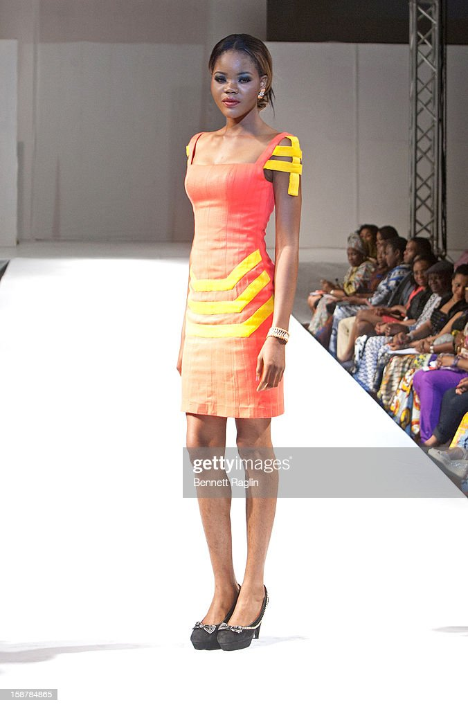 A model wearing the Diamond Collection By Folake Majin Fashion Show at Iko Hotel and Suites on December 27, 2012 in Lagos, Nigeria.
