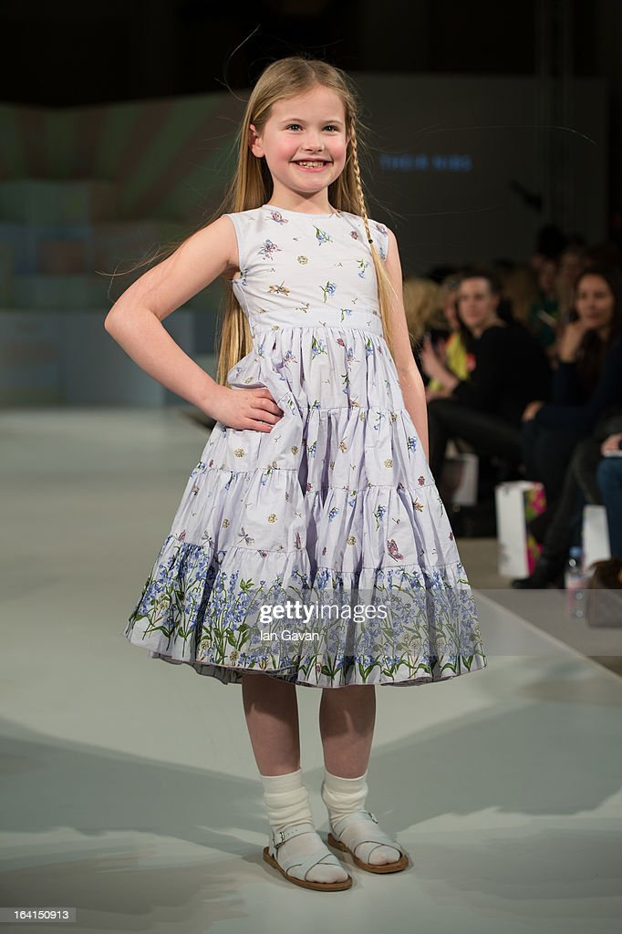 A model wearing Their Nibs Spring/Summer'13 walks the runway at the Global Kids Fashion Week SS13 public show in aid of Kids Company at The Freemason's Hall on March 20, 2013 in London, England.