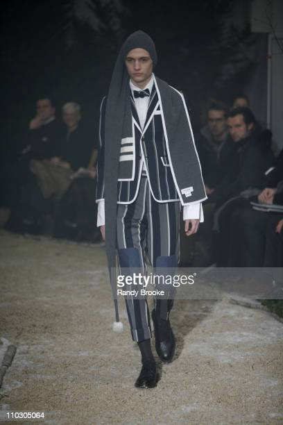 Model wearing Thom Browne Fall 2007 during MercedesBenz Fashion Week Fall 2007 Thom Browne Runway at Exit Art in New York City New York United States