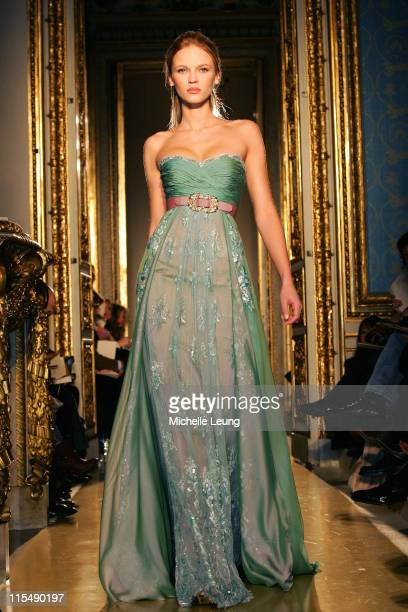 Model wearing Zuhair Murad Spring/Summer 2007 during Paris Fashion Week Haute Couture Spring/Summer 2007 Zuhair Murad Runway at Ambassade de Bolonge...