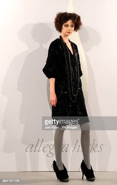 A model wears a creation by Allegra Hicks during London Fashion Week at 17 Berkeley Street W1