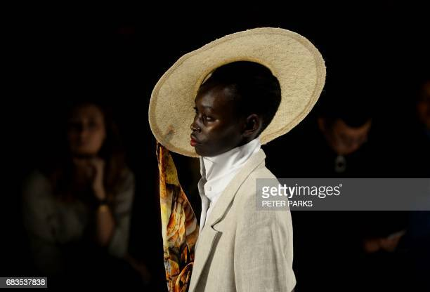 TOPSHOT A model wears a creation by Australian designer Victoria Bliss at the StGeorge NextGen show for Fashion Week in Sydney on May 16 2017 / AFP...