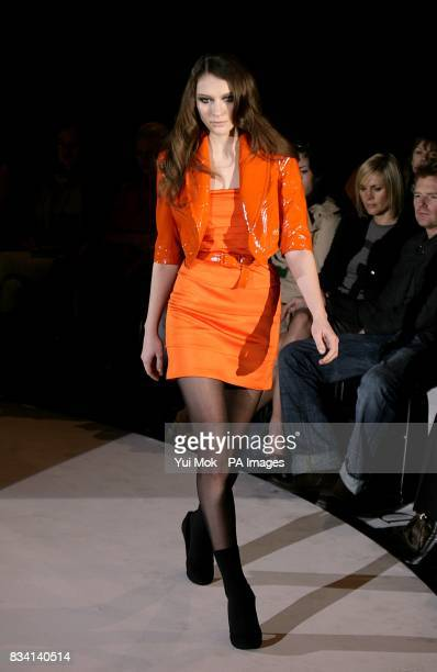 A model wears a creation by designer Ashley Isham during London Fashion Week at the Royal Opera House Bow Street Covent Garden WC2E 9DD