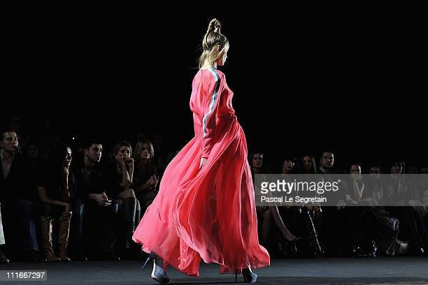 A model wears a creation by designer Dasha Gauser on day 6 of the MercedesBenz Fashion Week Russia Fall/Winter 2011/2012 at the Congress Hall on...