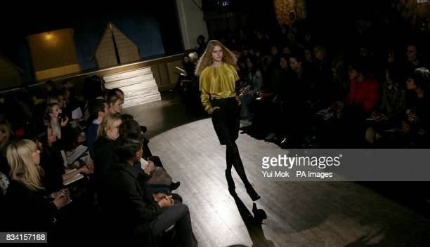 A model wears a creation by designer Peter Jensen during London Fashion Week at Conway Hall 25 Red Lion Square WC1