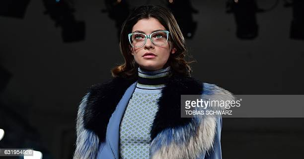 A model wears a creation by Sportalm at the Berlin Fashion Week in Berlin on January 18 2017 / AFP / Tobias SCHWARZ