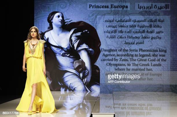 A model wears a creation inspired by Princess Europa who was the goddess for ancient Europe by Syrian Fashion Designer Manal Ajaj during her fashion...
