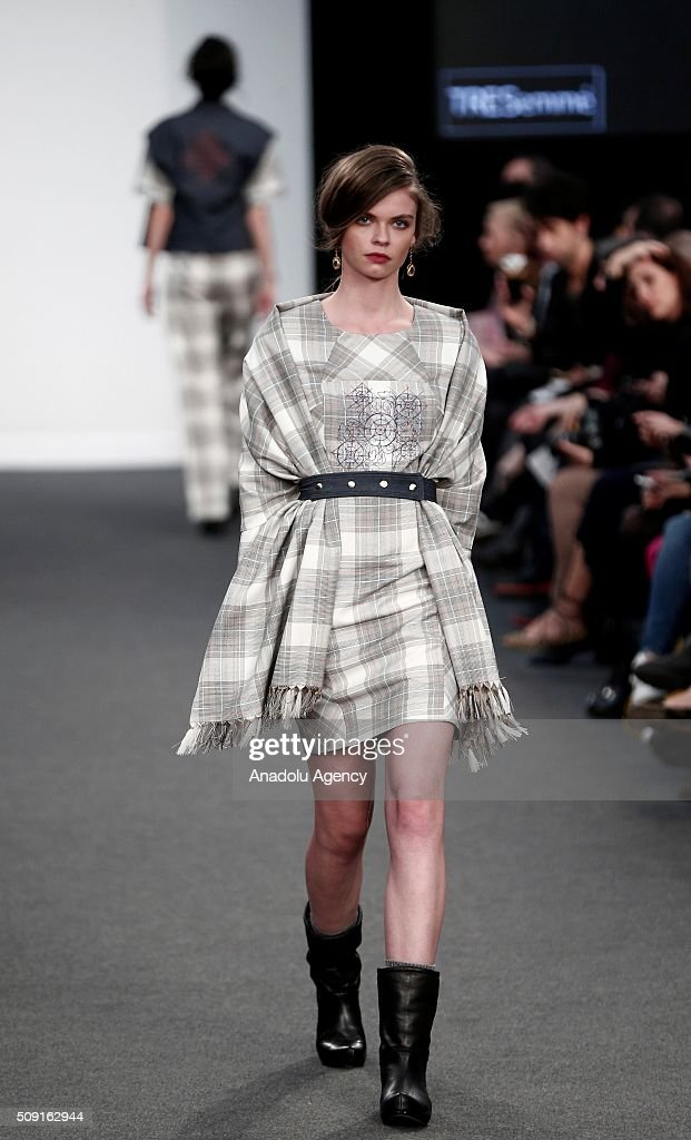 A model wears a creation of Aurelia Gil's fall-winter 2016/2017 fashion collection presented at the Madrid Fashion Week 2016 on February 9, 2016 in Madrid, Spain.