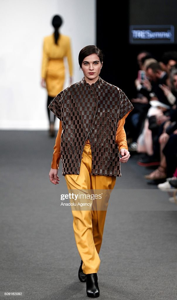 A model wears a creation of Yono Taola's fall-winter 2016/2017 fashion collection presented at the Madrid Fashion Week 2016 on February 9, 2016 in Madrid, Spain.