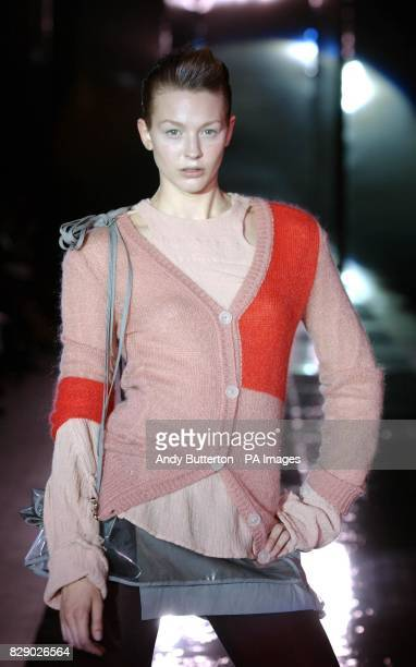 A model wears a design by Vivienne Westwood during her 'Fashion In Motion' show at the VA Museum in west London to complement the fashion designer's...