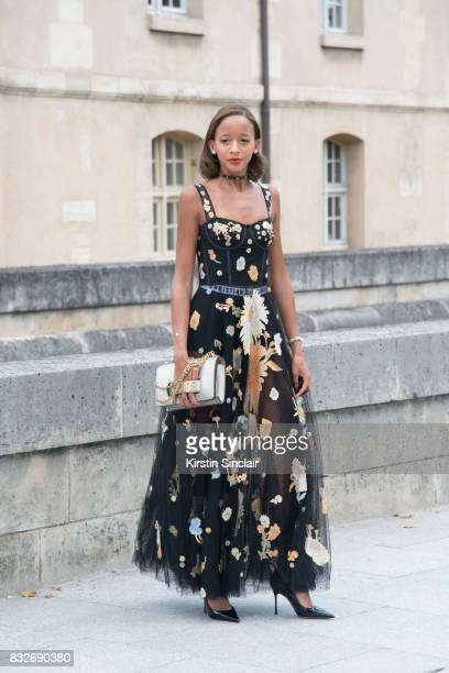 A model wears a Dior dress bag and shoes day 2 of Paris Haute Couture Fashion Week Autumn/Winter 2017 on July 3 2017 in Paris France
