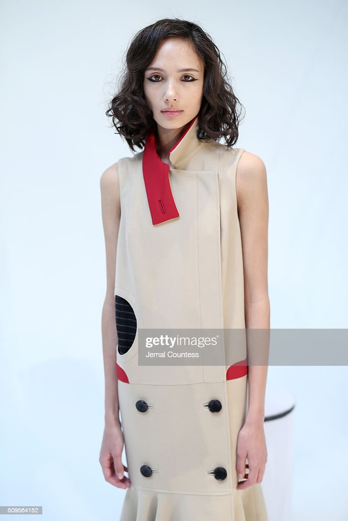 A model wears A Moi Fall 2016 at the A Moi - Presentation at Industria Superstudio on February 11, 2016 in New York City.