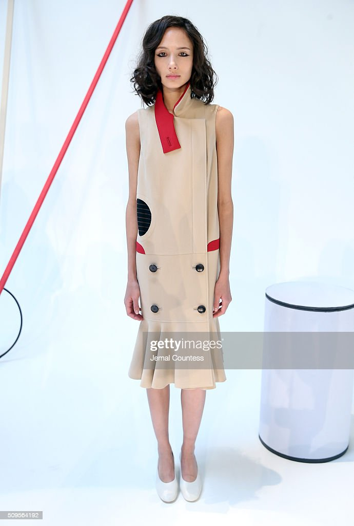 A model wears A Moi Fall 2016 the A Moi - Presentation at Industria Superstudio on February 11, 2016 in New York City.