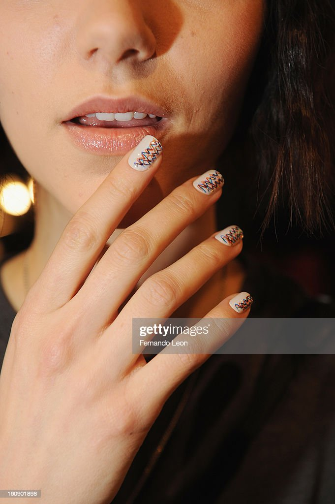 A model wears a nail design created by CND for Creatures of the Wind: New York Fashion Week Fall/Winter 2013 at Eyebeam Gallery on February 7, 2013 in New York City.