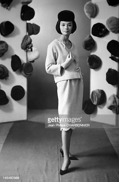 A model wears a Pierre Cardin suit on September 1960 in Paris France