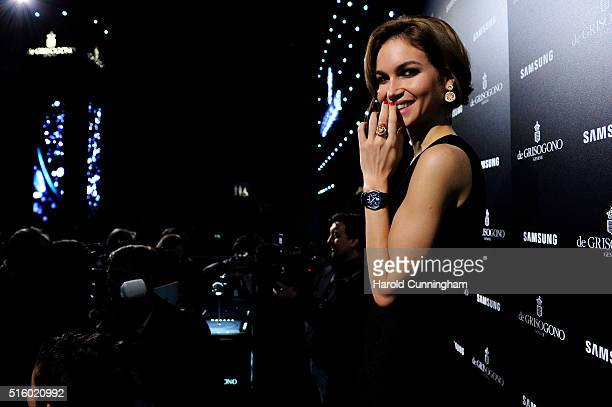 A model wears a Samsung Gear S2 by de Grisogono during Baselworld on March 16 2016 in Basel Switzerland Held annually Baselworld is the most...