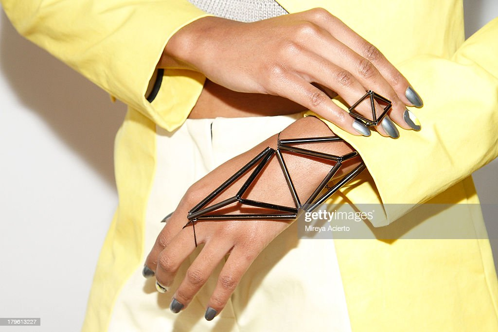 A model wears accessories (detail) at the Titania Inglis presentation during Mercedes-Benz Fashion Week Spring 2014 at The Standard Hotel - High Line Room on September 5, 2013 in New York City.