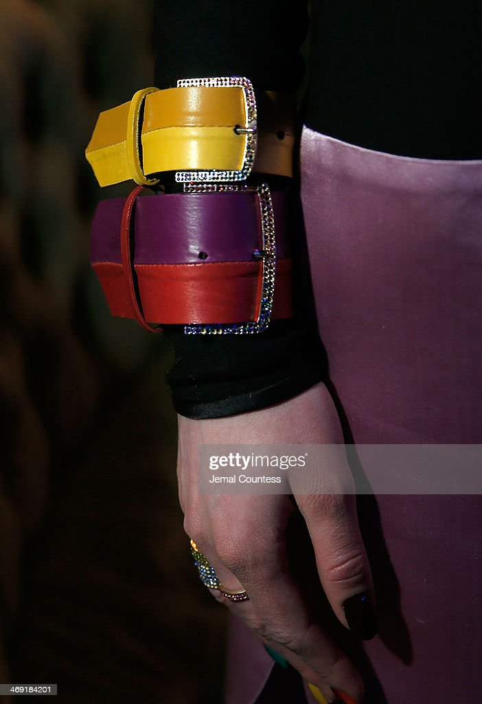 A model wears bracelets from Cynthia Rowley Fall 2014 collection at the Cynthia Rowley Fall 2014 Presentation during Mercedes-Benz Fashion Week Fall 2014 at The Diamond Horseshoe on February 12, 2014 in New York City.