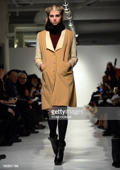 A model wears designs by 4 Corners of a Circle during the MercedesBenz Fashion Week Fall 2013 collections on February 7 2013 in New York AFP...