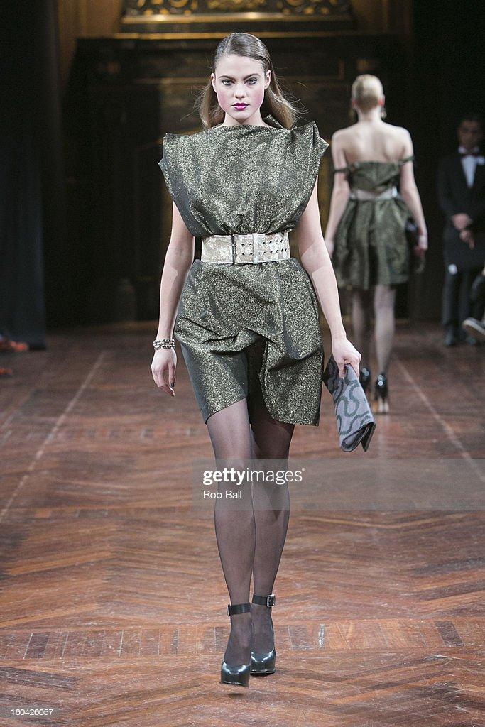 A model wears designs by British designer Vivienne Westwood during Day 2 of Copenhagen Fashion Week on January 31, 2013 in Copenhagen, Denmark.