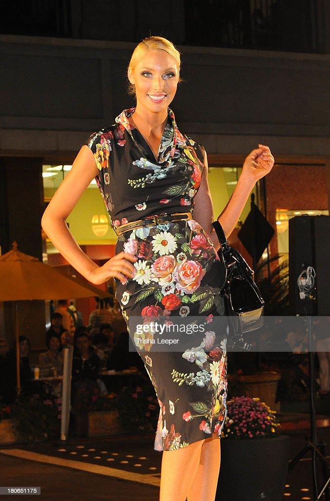 A model wears designs by CALYPSO ST. BARTH at the Santana Row Fall Fashion Show 2013 on September 14, 2013 in San Jose, California.