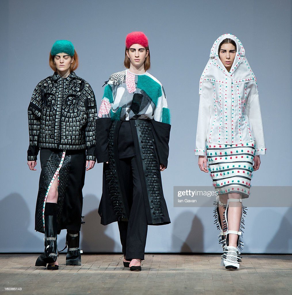 A model wears designs by Elin Ivre during the Beckmans College of Design show at Mercedes-Benz Stockholm Fashion Week Autumn/Winter 2013 at Berns on January 30, 2013 in Stockholm, Sweden.