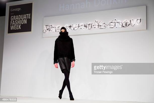 A model wears designs by Hannah Donkin on the runway during the GFW Awards Show during day 4 of Graduate Fashion Week 2014 at The Old Truman Brewery...