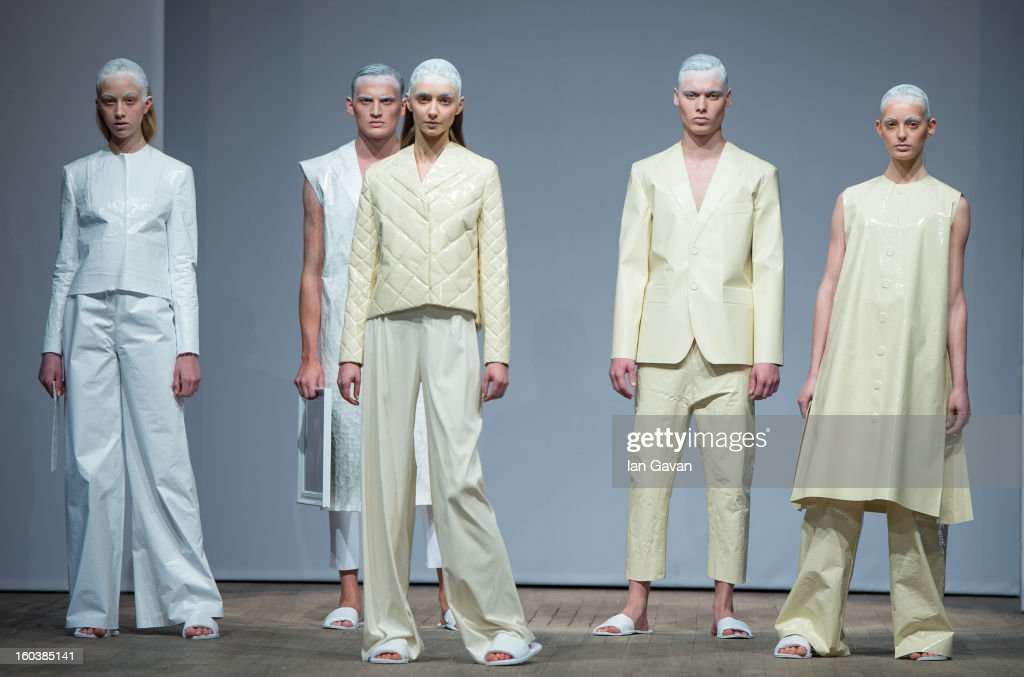 A model wears designs by Martin Karlsson during the Beckmans College of Design show at Mercedes-Benz Stockholm Fashion Week Autumn/Winter 2013 at Berns on January 30, 2013 in Stockholm, Sweden.