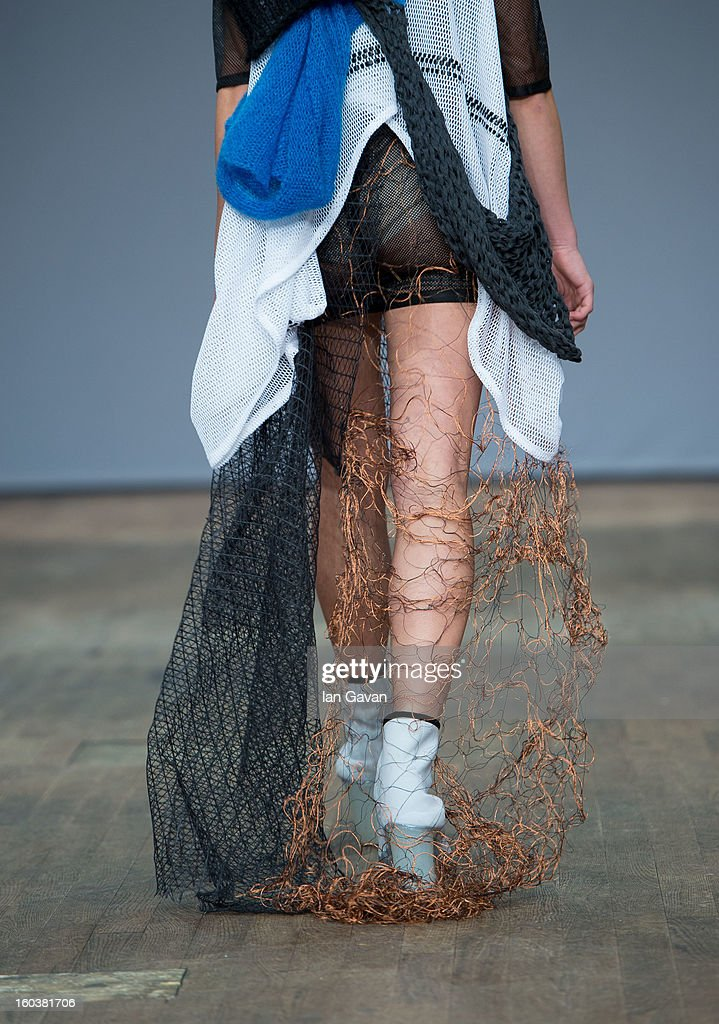 A model wears designs by Nhina Svensson during the Beckmans College of Design show at Mercedes-Benz Stockholm Fashion Week Autumn/Winter 2013 at Berns on January 30, 2013 in Stockholm, Sweden.