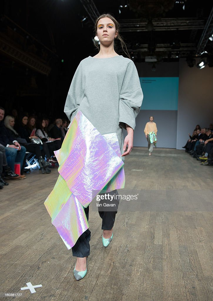 A model wears designs by Olivia Edvinsson during the Beckmans College of Design show at Mercedes-Benz Stockholm Fashion Week Autumn/Winter 2013 at Berns on January 30, 2013 in Stockholm, Sweden.