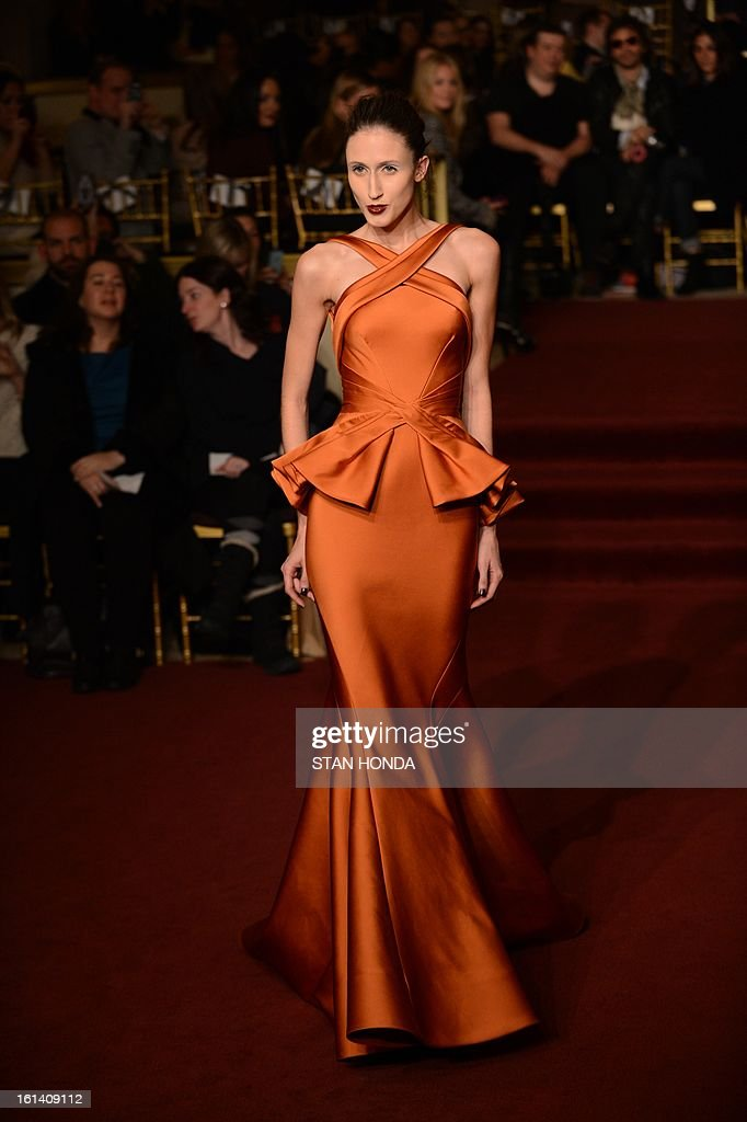 A model wears designs by Zac Posen during the Mercedes-Benz Fashion Week Fall 2013 collections on February 10, 2013 at the Plaza Hotel in New York. AFP PHOTO/Stan HONDA