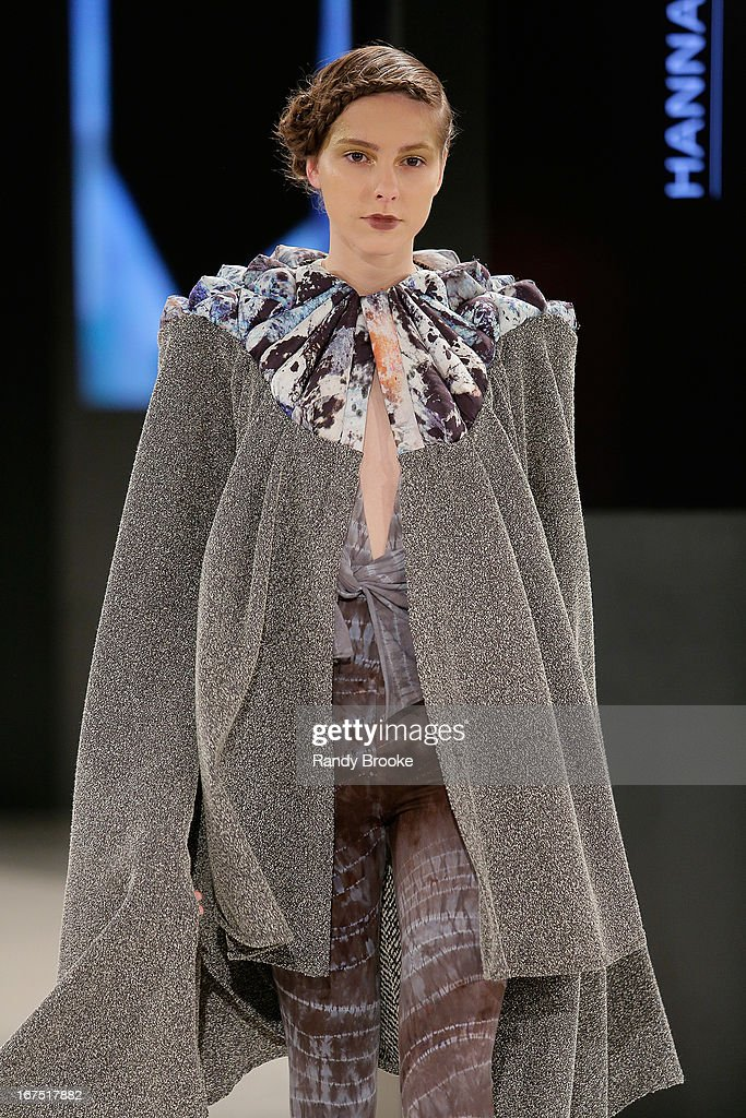A Model wears fashion designs by Hannah Ross during the 114th Annual Pratt Institute Fashion Show at Center 548 on April 25, 2013 in New York City.