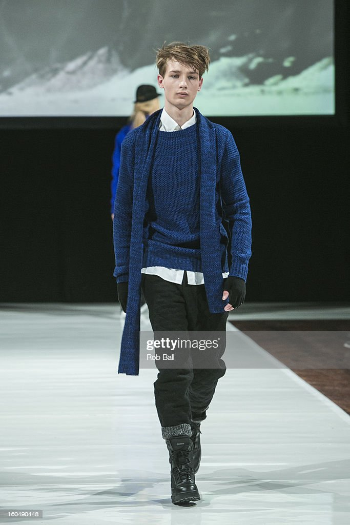 A model wears fashions by Danish designer Bibi Chemnitz during Day 3 of Copenhagen Fashion Week on February 1, 2013 in Copenhagen, Denmark.