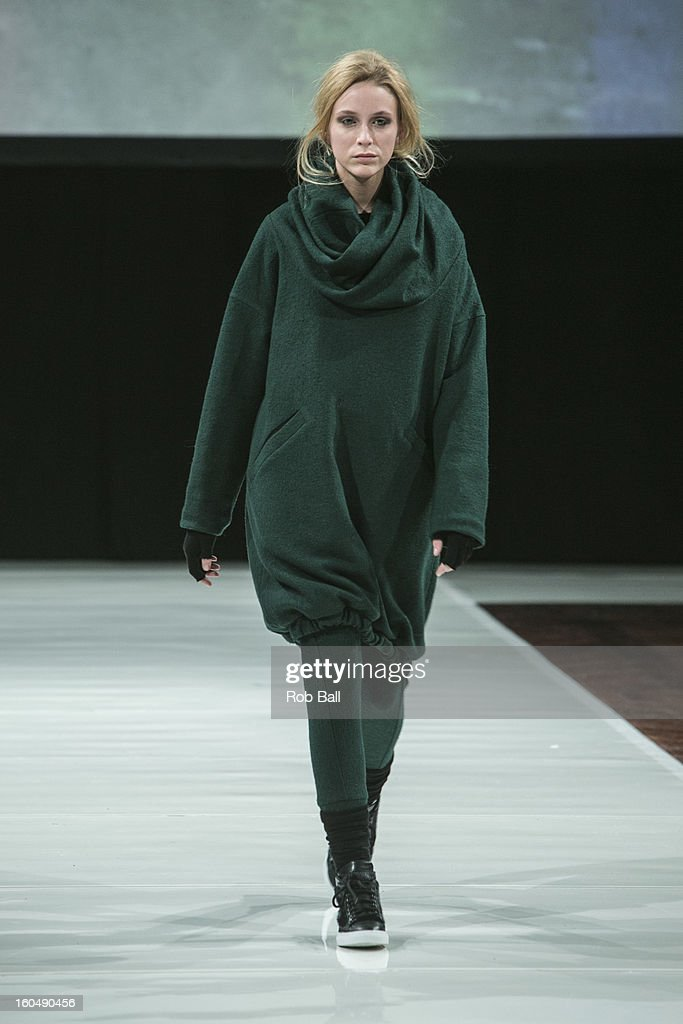 A model wears fashions by Danish designer Bibi Chemnitz during Day 3 of Copenhagen Fashion Week on February 1, 2013 in Copenhagen, Denmark.