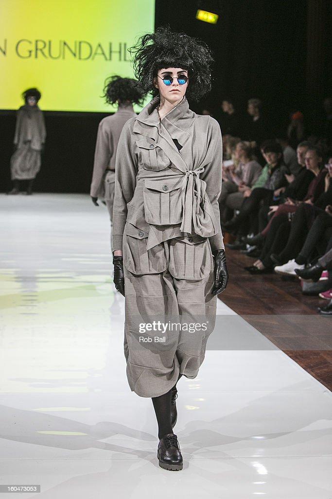 A model wears fashions by Danish designer Ivan Grundahl during Day 3 of Copenhagen Fashion Week on February 1, 2013 in Copenhagen, Denmark.