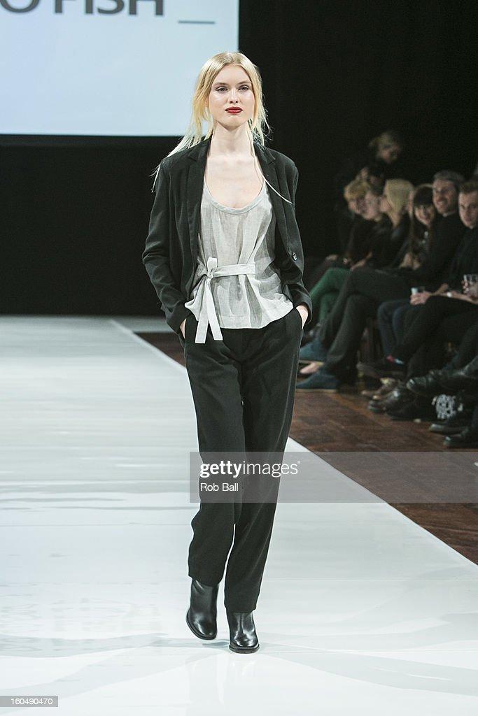 A model wears fashions by Dutch designer Ready To Fish during Day 3 of Copenhagen Fashion Week on February 1, 2013 in Copenhagen, Denmark.