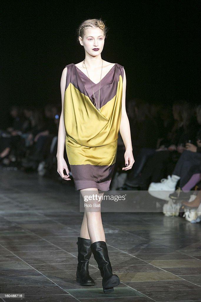 A model wears fashions designed by Danish Designer Noa Noa during Day 3 of Copenhagen Fashion Week on February 1, 2013 in Copenhagen, Denmark.